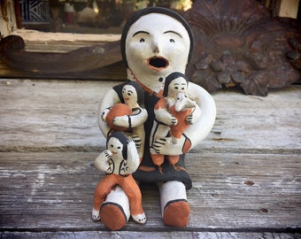 Signed Cochiti Pueblo Mary Frances Herrera Storyteller Figurine, Southwest Native America Indian Art Collectible Pottery