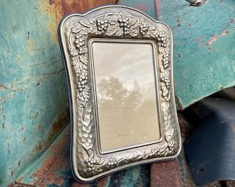 Vintage Silver Repousse Picture Frame Tabletop, Decorative Grapevine Design Theme, Photo Holder