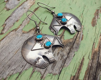 Native American Indian Earrings Sterling Silver Bear with Turquoise, Bear Jewelry