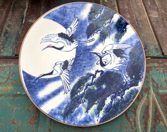"Vintage Japanese Porcelain Crane Decorative Plate 12.5"" by Sun Ceramics, Blue White Display"