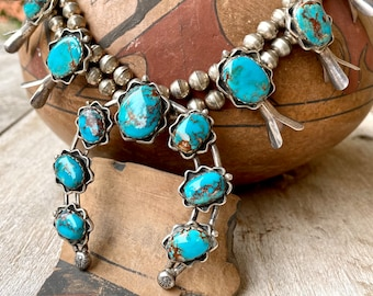 """148g Sterling Silver Bisbee Turquoise Navajo Squash Blossom Necklace 23"""", Native American Jewelry"""