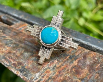 Sterling Silver Turquoise Zia Symbol Ring Size 5.75, Southwestern Jewelry Native American Sun