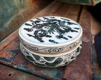 Heavy Vintage Japanese Porcelain Lidded Container Incense Holder Dragon Waves Motif C. Late 1800s