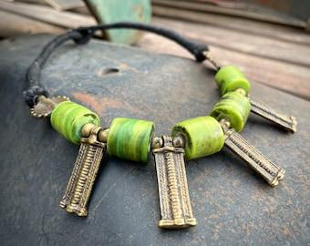 "Tribal Chunky Choker Necklace 18"" Bright Green Glass and Brass Beads, Naga Jewelry Bohemian"