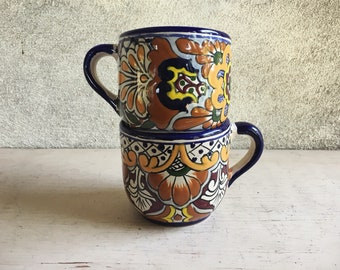Two Talavera Pottery Cups Blue Yellow Mexican Decor, Blue White Kitchen, Housewarming Gift for Couple, Decorative Pottery