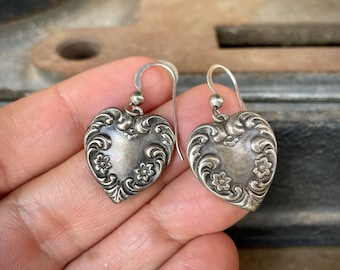 Small Sterling Silver Art Nouveau Style Heart Earrings, I Love You Jewelry for Daughter or Niece