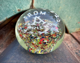 Vintage Gentile Glass From a Friend Paperweight Frit with Multicolor Design, American Art Orb
