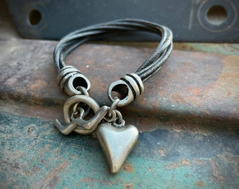 """Sterling Silver Puffy Heart Charm on Multi Strand Leather Bracelet with Toggle Closure Size 7.5"""""""