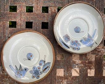 Pair of Vintage El Palomar Studio Pottery Saucers, Mexican Ceramics, Small Plates, Kitchen Decor