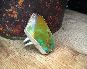 Big Turquoise Ring for Women Men Size 9 Geometric Ring Sterling Silver Turquoise Jewelry