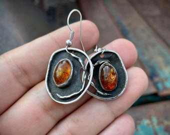 Vintage Sculptural Earrings Sterling Silver Amber (Flawed), One of a Kind Navajo Jewelry Gemstone