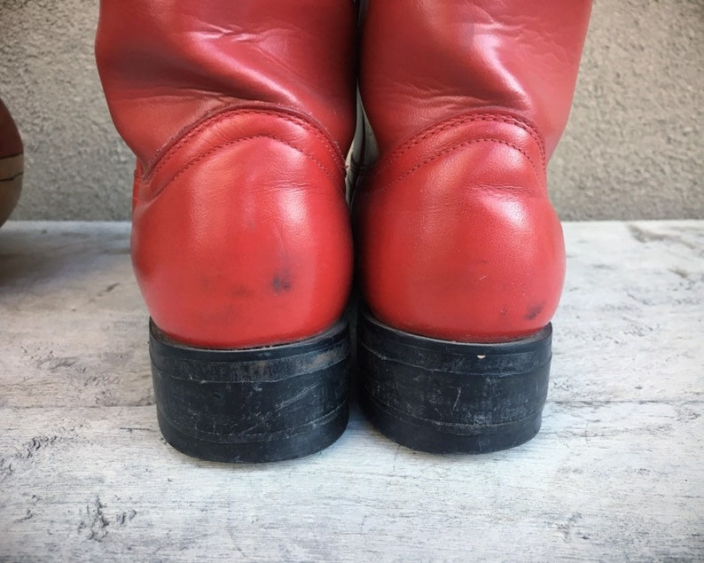 Vintage Women/'s Size 6.5 B Red Cowboy Boots for Women Ropers Rockabilly Leather Boots Fourth of July Cowgirl Boot Wonder Woman Costume