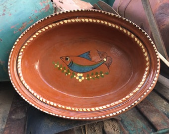 Southwestern Home Decor Mexican Pottery Oval Dish Wall Hanging w/ Fish Design, Tlaquepaque Folk Art