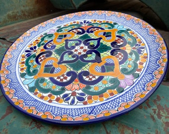 """11.5"""" Mexican Talavera Plate Wall Hanging Blue Yellow, Rustic Southwestern Home Decor Patio"""