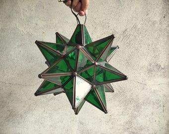 Green Glass Hanging Star Lantern Bohemian Decor Mexican Star Pendant Lamp
