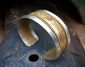 Signed Navajo Heavy Sterling Silver Gold Fill Cuff Bracelet Unisex, Native American Jewelry