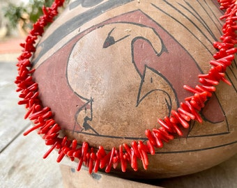 Single Strand Stick Coral Choker Necklace for Women, Native American Indian Style Jewelry