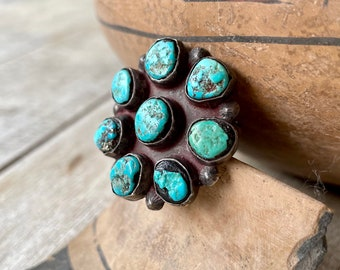 1930s Rustic Navajo Turquoise Silver Cluster Ring Size 6.75, Vintage Native American Jewelry