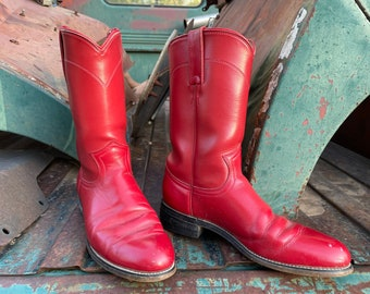 Vintage Women's Cowboy Boots for Cowgirl Size 6.5, Red Ropers, Rockabilly Outfit, Rodeo Style