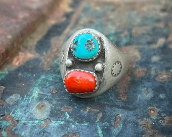Size 10.5 Vintage Turquoise Coral Southwestern Ring Men's, Traditional Navajo Native Jewelry