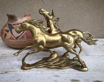 Large Vintage Brass Two Wild Horses Running Statue, Equine Shelf Display Animal Doorstop