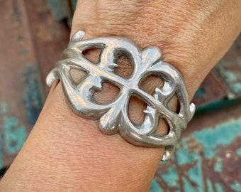 Vintage Sterling Silver Sandcast Cuff Bracelet Size 5-3/4 Small Wrist, Navajo Native American