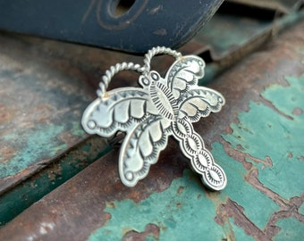 Sterling Silver Dragonfly Ring Size 7 by Navajo Melvin Francis, Native American Indian Jewelry