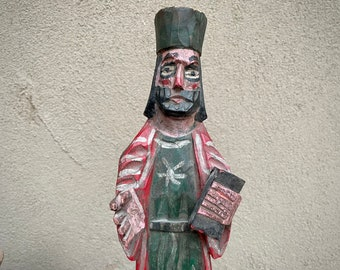 Tall Religious Statue Carved Wood Saint with Bible, Guatemala Folk Art Primitive, Bishop Statue