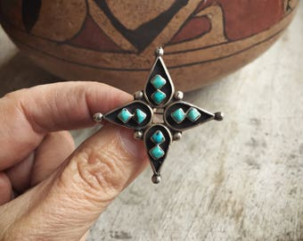 Silver Turquoise Cross Star Brooch, Old Pawn Native American Indian Jewelry, Turquoise Pin
