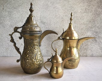 Set of Three Vintage Brass Dallah Arabic Coffee Pots, Islamic Middle Eastern Teapots Collection