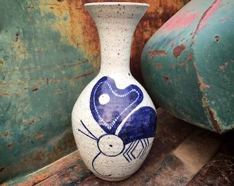 1970s Stoneware Art Studio Pottery Weed Pot Blue Insect or Hummingbird Design, Ceramic Vase