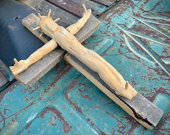 Vintage Folk Art Wood Carved Crucifix Jesus Christ Religious Sculpture, New Mexico Bulto Santo
