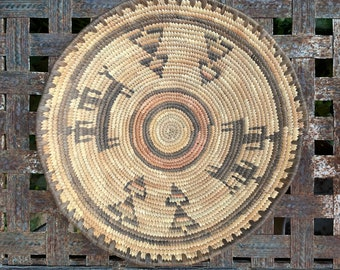 Vintage African Coiled Basket Hausa Nigeria Culture, Wall Hanging Bohemian Tribal Decor