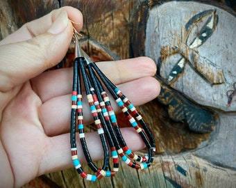 "3"" Black Onyx Turquoise Heishi Earrings by Santo Domingo Dorene Calabaza, Native American Jewelry"