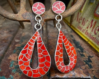 Zuni Lynelle Johnson Large Mediterranean Coral Teardrop Earrings Mod Retro Style, Native American