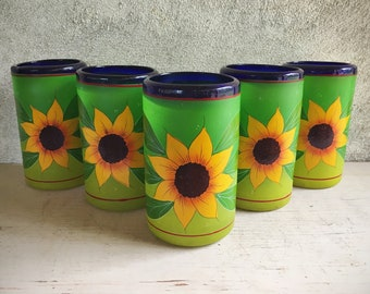 Painted Blown Glass Tumblers With Sunflowers Mexican Folk Art Drinkware, Rustic Home Decor
