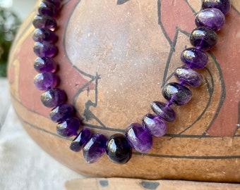 Vintage Simple Amethyst Bead Necklace for Women, February Birthstone Jewelry Purple Gemstone