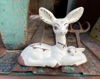 Vintage Acoma Pueblo Pottery Deer and Fawn Figurine, Native American Indian Woodland Animal Gift