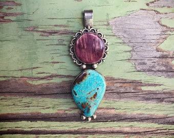 Native American Navajo Jewelry Big Turquoise Pendant with Purple Spiny Oyster Sterling Silver