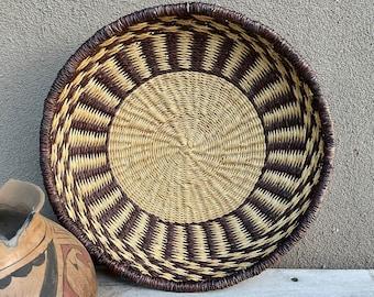 Shallow Twined Basket Earthy Brown Beige Southwestern Decor, Straw Weaving for Gallery Wall