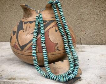 "Two Strand Necklace 30"" Spiderweb Turquoise Heishi Beads, Santo Domingo Native American Jewelry"