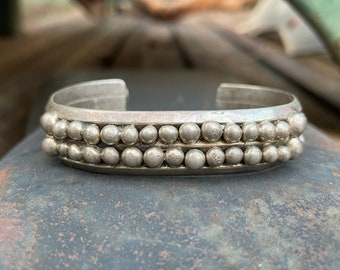 48g Sterling Silver Cuff Bracelet with Raindrop Dot Design, Navajo Native American Jewelry Men's