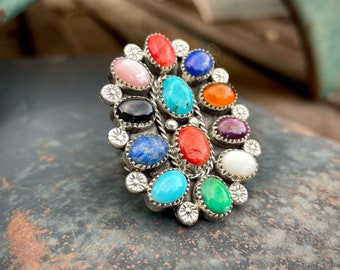 Size 9.25 Cluster Ring Multi-Stone Turquoise Lapis Spiny Oyster, Navajo Native American Jewelry