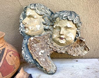 Heavy Old Distressed Chippy Plaster Chalkware Winged Angels Wall Hanging, Baroque Style Cherubs