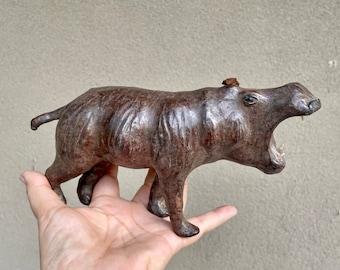 Mid Century Leather Wrapped Glass Eye Hippopotamus, Liberty London Style, Vintage Safari Animal