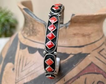 1950s Red Coral Diamond-Shaped Row Bracelet by Zuni Erma Waatsa, Native American Indian Jewelry