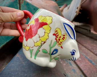 Yokohama Studio Hand-Painted Ceramic Rabbit Mug, Cute Animal Gift, Japanese Pottery Big Cup with Handle, Orange Blue Kitchen Decor