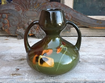 Early 1900s Loy-Nel-Art Pottery Vase with Double Handles Early Nelson McCoy Ohio American Ceramics