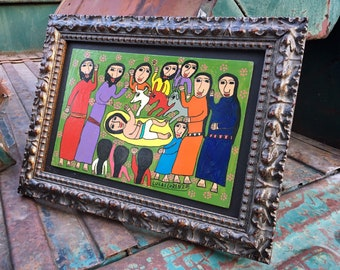 Framed Original Acrylic Painting of Nativity by Mexican Artist Lucas Lorenzo, Colorful Outsider Religious Art