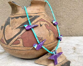Carved Purple Mohave Turquoise Hummingbird Fetish Necklace by Matt Mitchell, Southwest Jewelry
